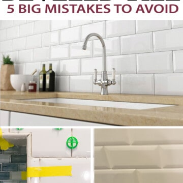 Collage of beveled tile installation tips including using a ledger board, making complex cuts, and grouting subway tile.