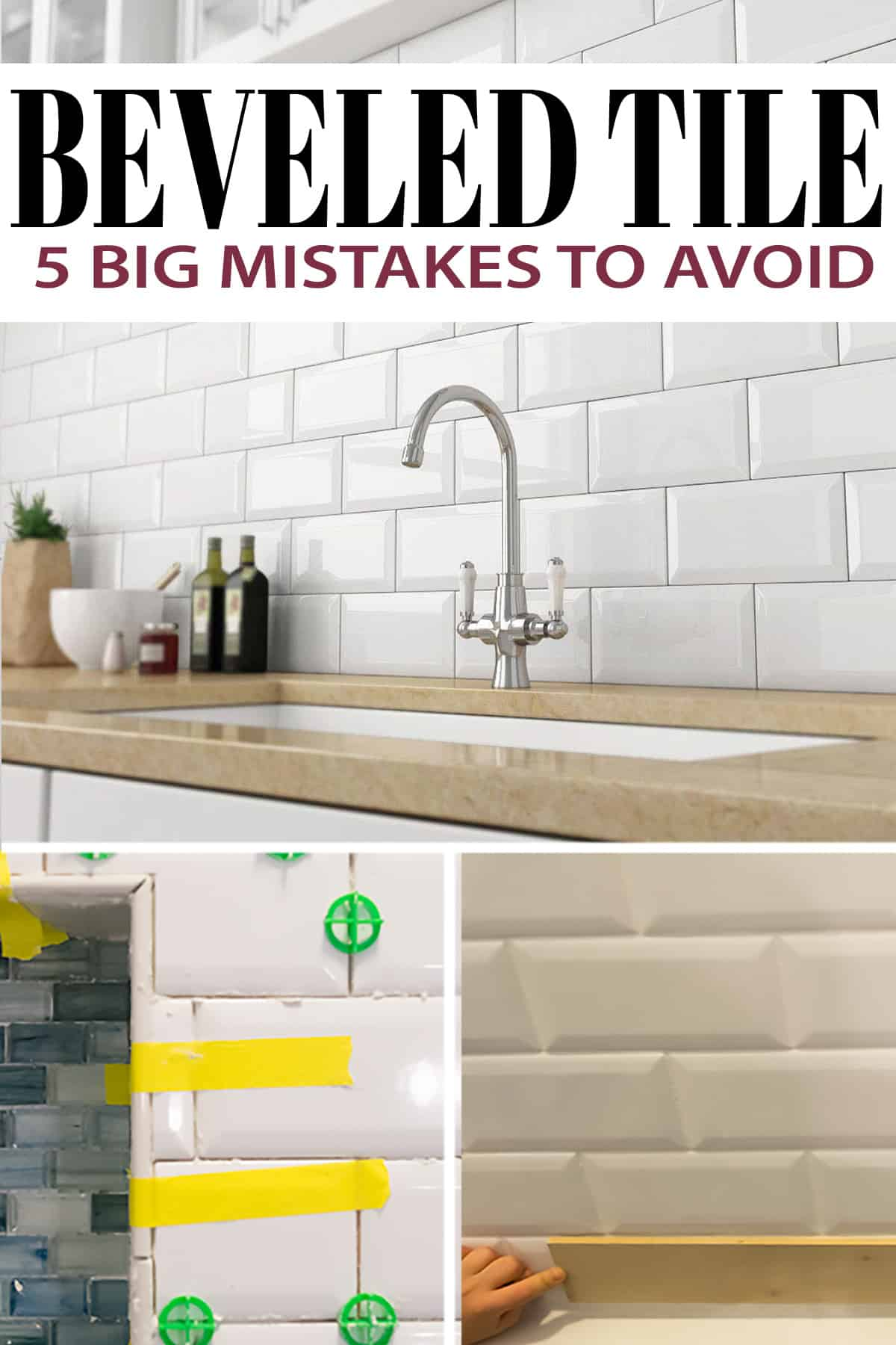 Beveled Tile Installation with mosaic tile inset tips and tricks with post title.