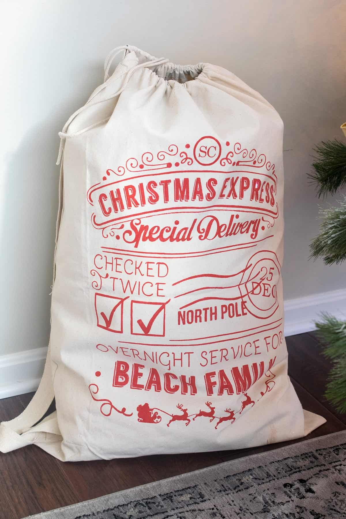Christmas Express Santa Sack with with red print -free tutorial.