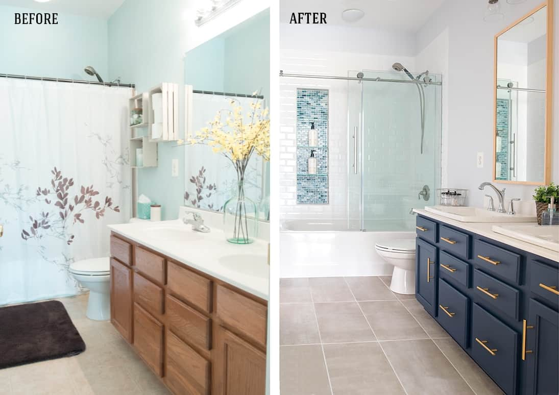 Before and after photo of modern classic bathroom renovation.