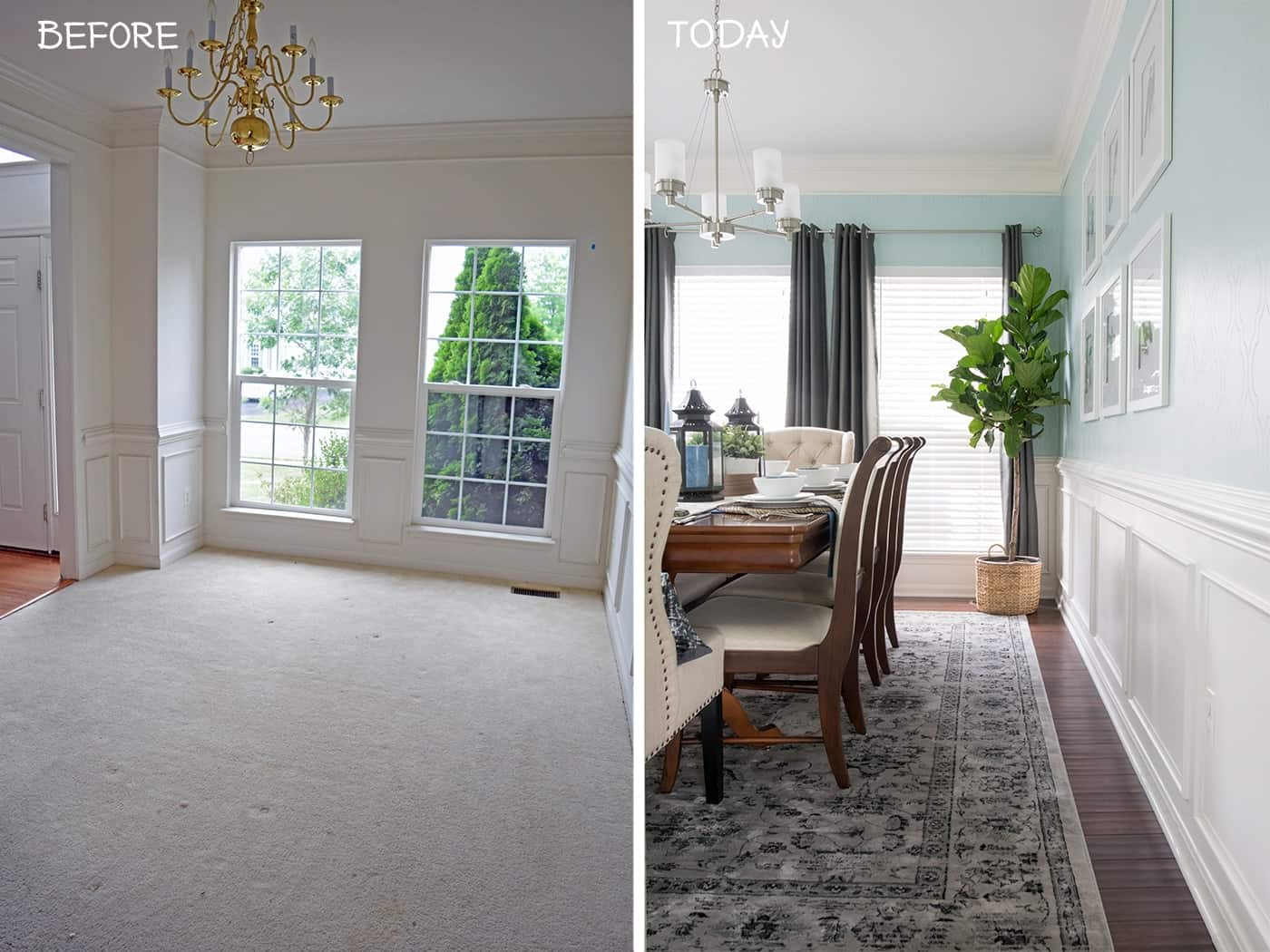 Aqua traditional Dining Room Before and after.