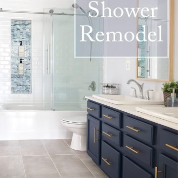 """Navy and white bathroom with glass shower and title """"DIY Shower Remodel"""""""