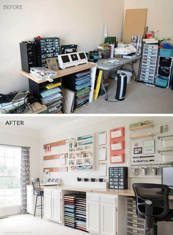 Craft room office makeover before and after.