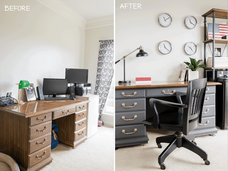 Man's office budget makeover. DIY home decor blog