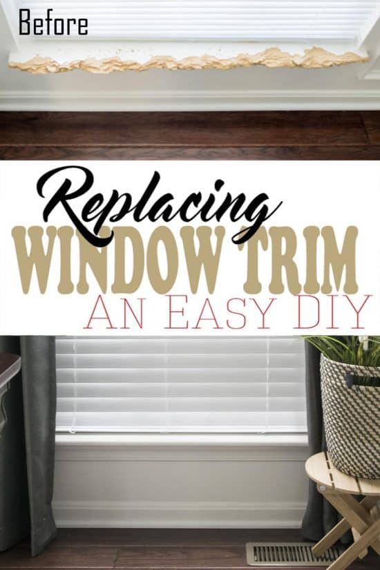 Before and after of replacing window trim.