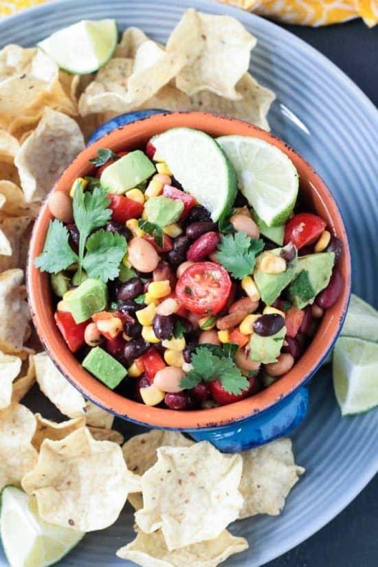 Smoky Cilantro Lime Bean Dip in a bowl.