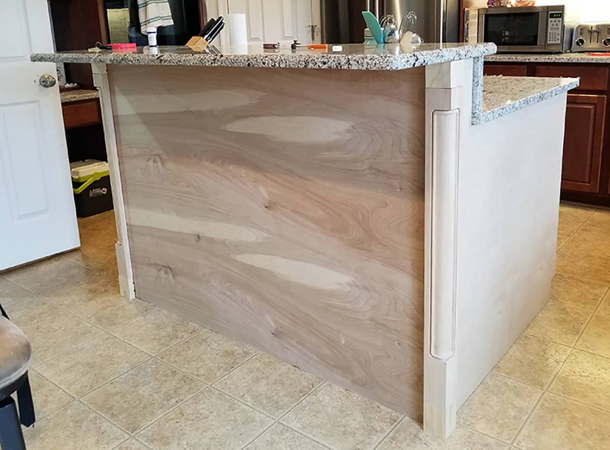Blank surface wood faced kitchen island add-on