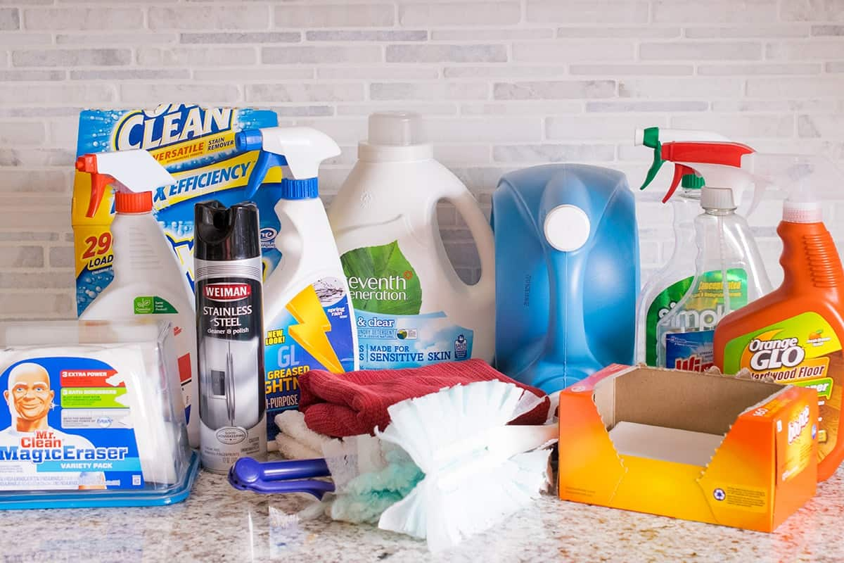 Typical household cleaner assortment including products for laundry, disinfecting, stains and dusting.