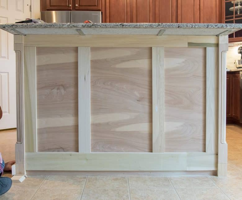 Kitchen Island with Trim on it but not painted.
