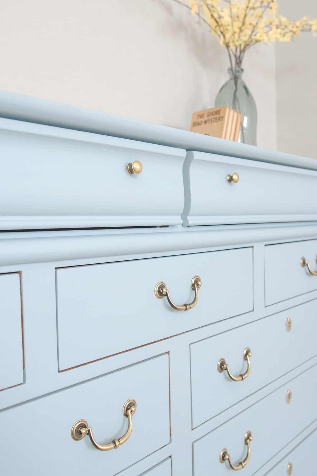 DIY Dresser transformation after photo with light blue fusion mineral paint