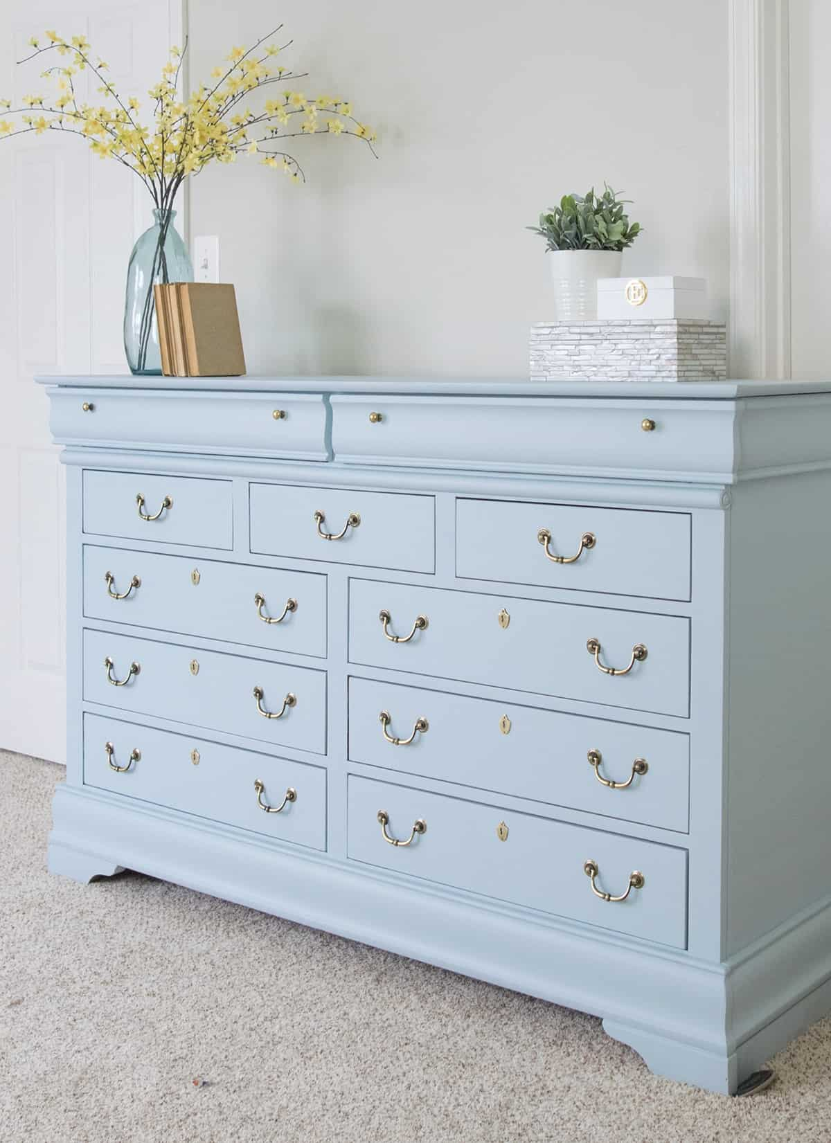 Dresser painted in a soft blue Fusion Mineral Tough Coat