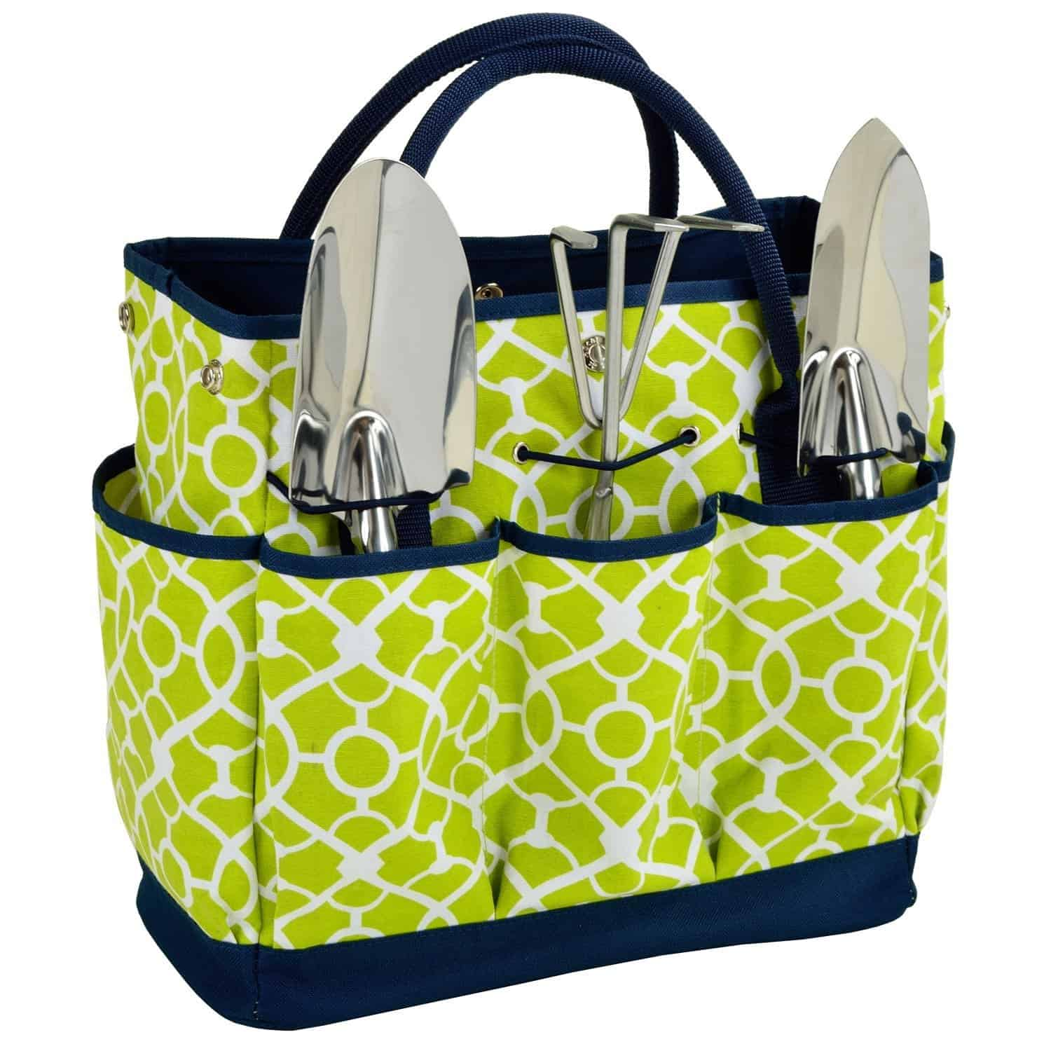 Lime green and navy Gardener's tool basket with tools