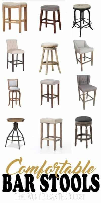 Affordable bar stools that are both comfortable and stylish! When searching for bar stools for the larger men in our house, I wanted durable bar stools and here are 20 budget bar stools.