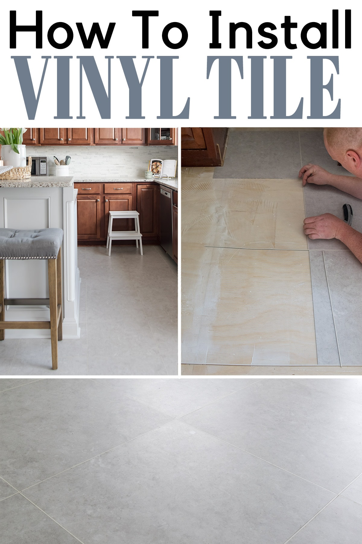 Luxury vinyl tile installation process in kitchen remodel with post title.