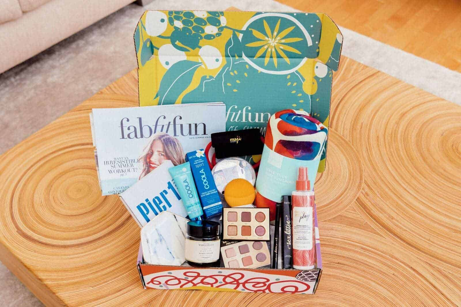 Fab Fit Fun Box subscription with various products