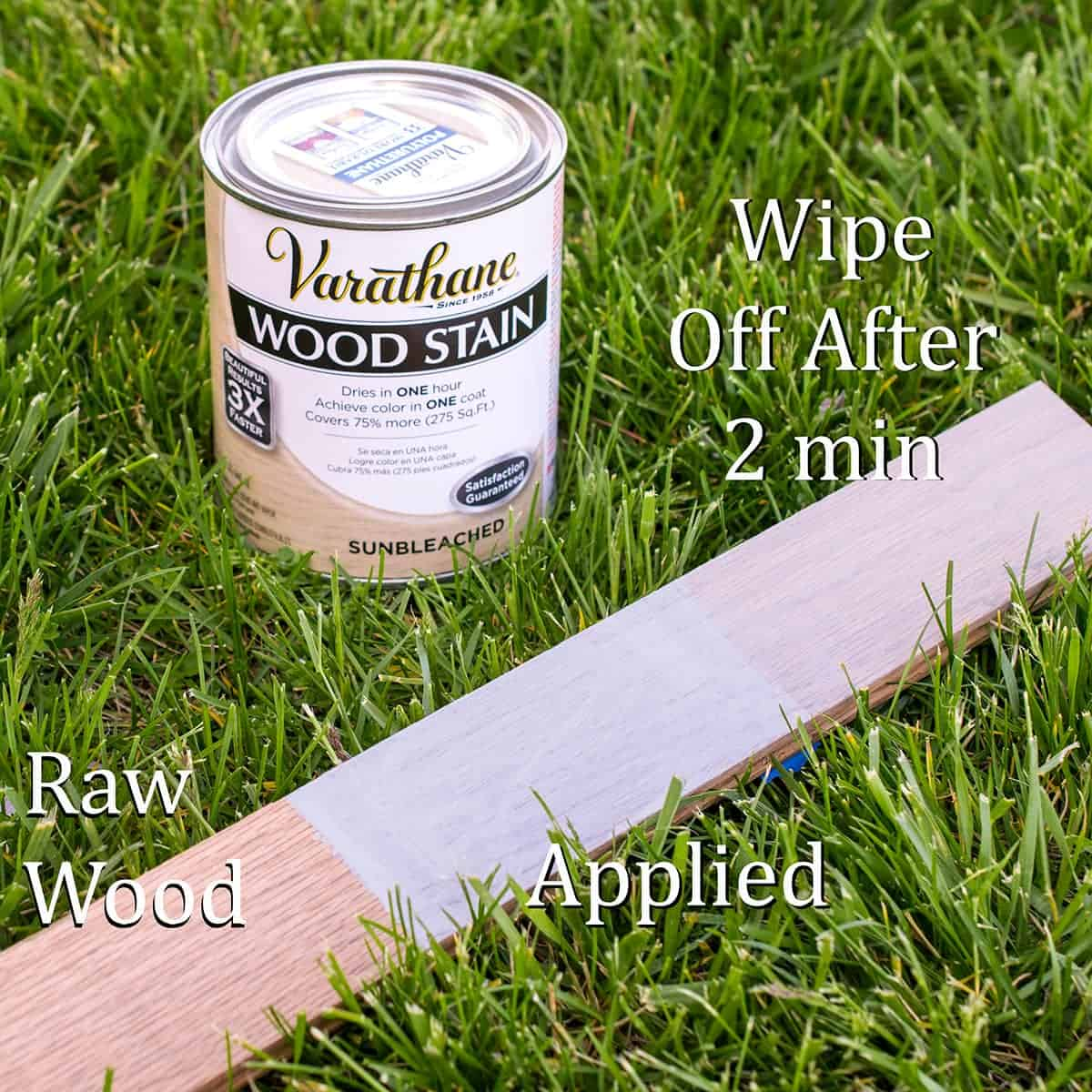 Varathane wood stain can with comparison of product on raw and coated wood plank