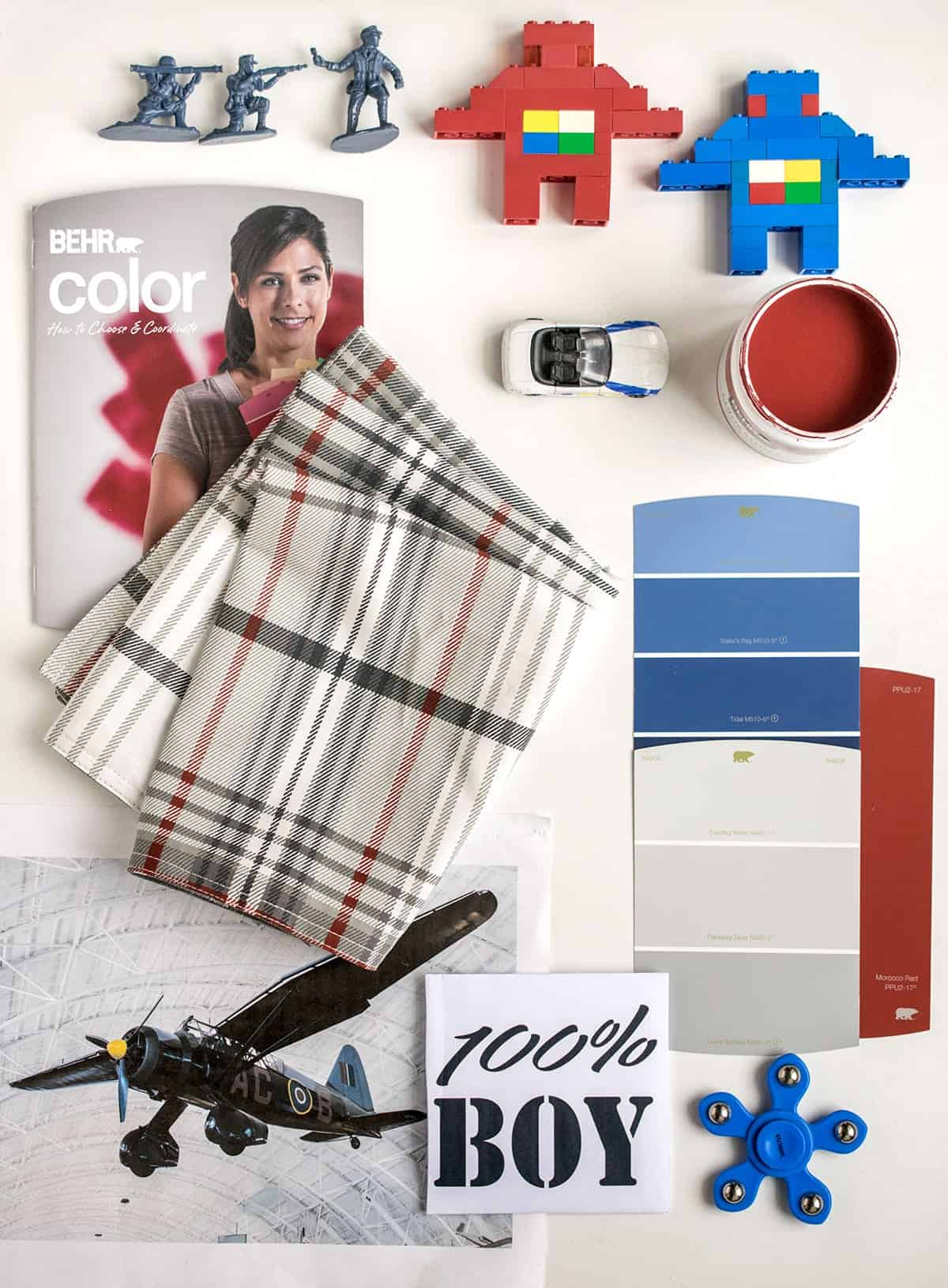 Mood Board -Designing a red white and blue boys bedroom.