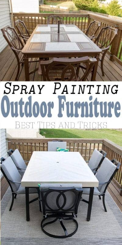 How to Spray Paint Outdoor Metal Furniture to refresh and last. We purchased an old thrift store patio table and gave it a budget makeover for our deck.