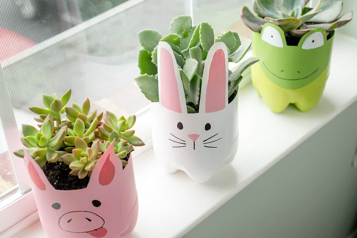 Animal themed soda bottle painted planter crafts with succulents in white window sill
