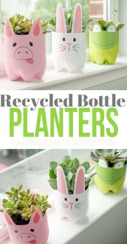 craft projects, soda bottle planters, kid crafts, planters, recycled planters, spring projects, spring crafts, elementary school crafts
