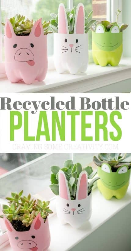 These recycled plastic bottle planters are so adorable and can be self watering planters . They are perfect for a cactus or succulent!