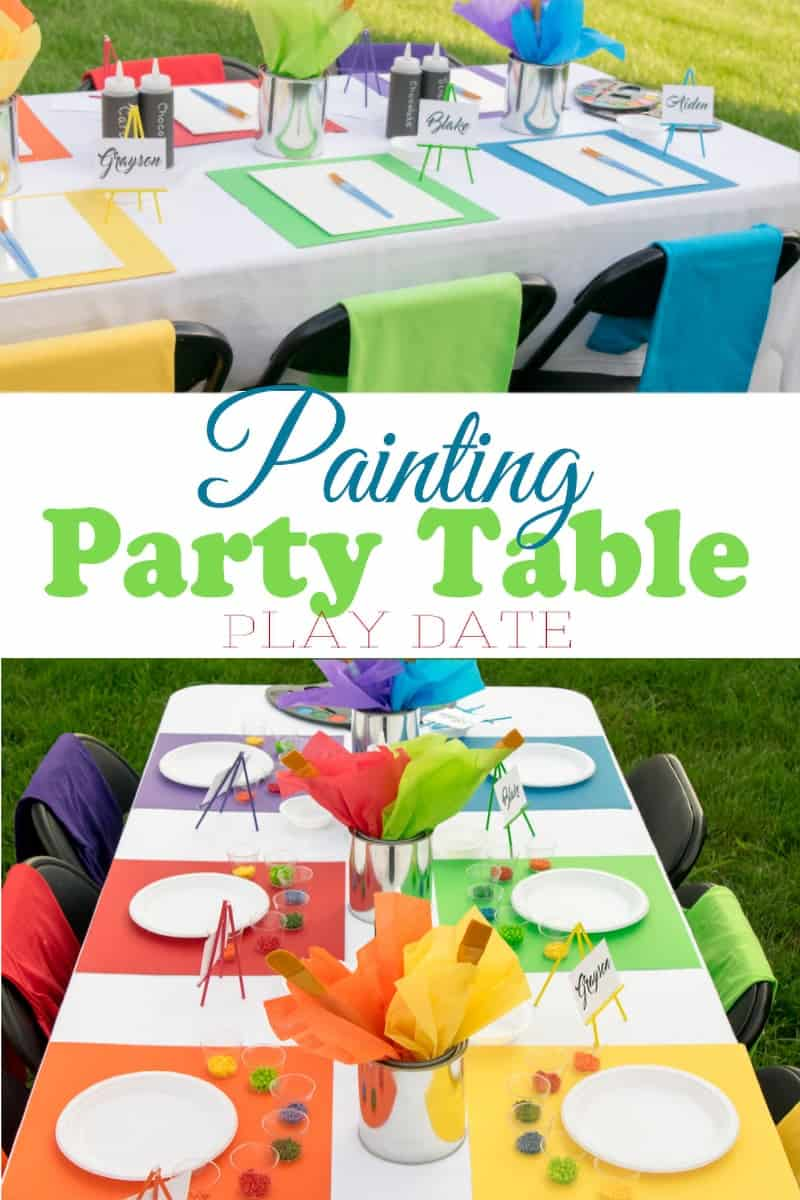 Rainbow backyard painting party and ice cream shoppe play date setup with post title