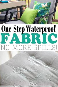 Are you tired of trying solutions for various spills? Did you know that you can make fabric waterproof by spraying it with a waterproof spray for fabric?! If you've ever wondered how to waterproof fabric, today's tutorial will show you how in one simple step!