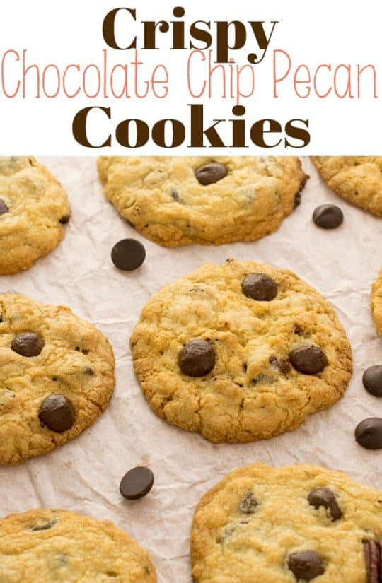 Crispy, chewy, rich Chocolate Chip Pecan Cookies arethe perfect chocolate and nut cookie combo!