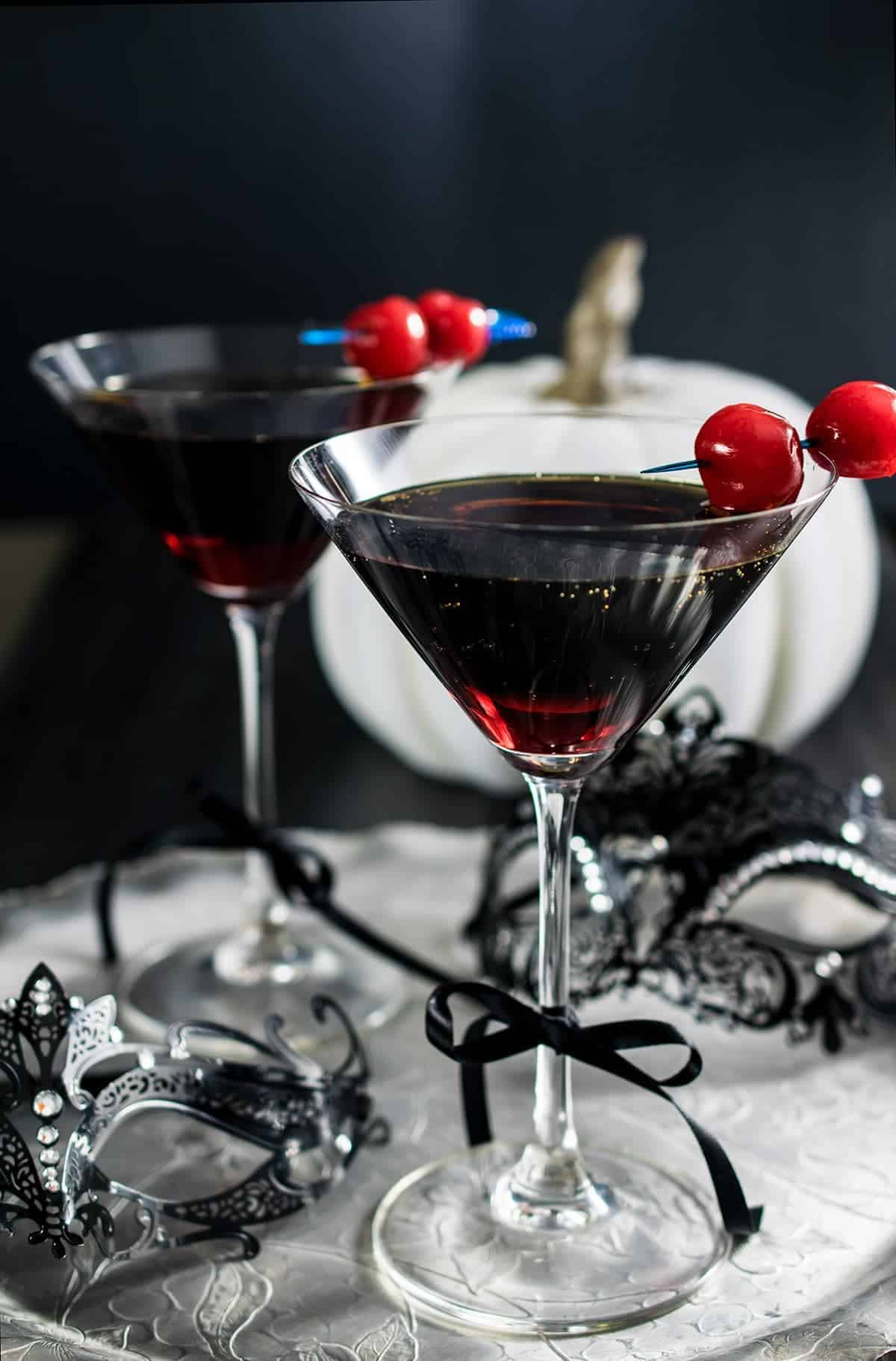 Halloween Cocktail - Red Death martini inspired by Edgar Allen Poe's masquerade