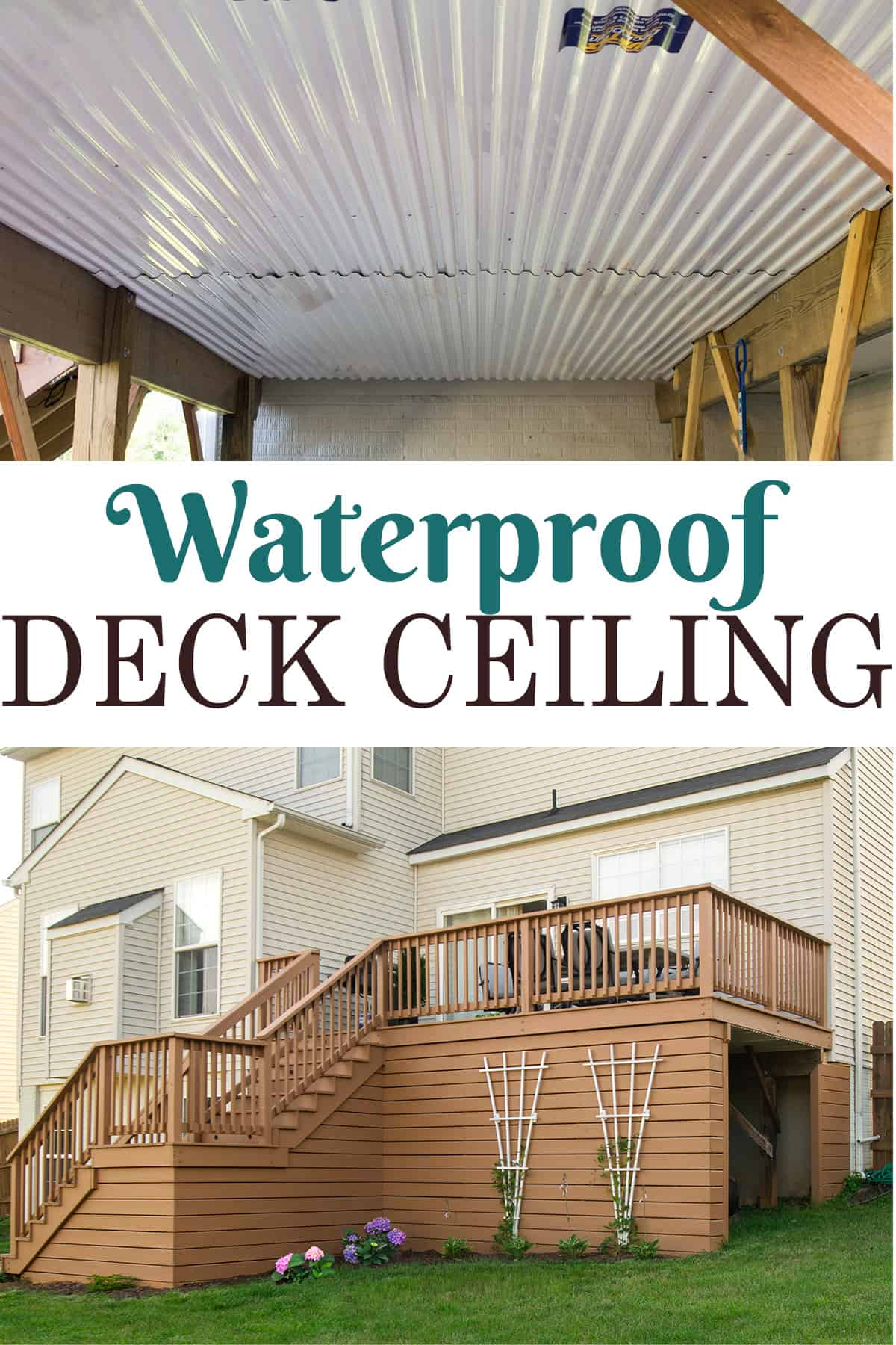 Collage of waterproof deck ceiling drainage system showing the inside and outside of the deck area.