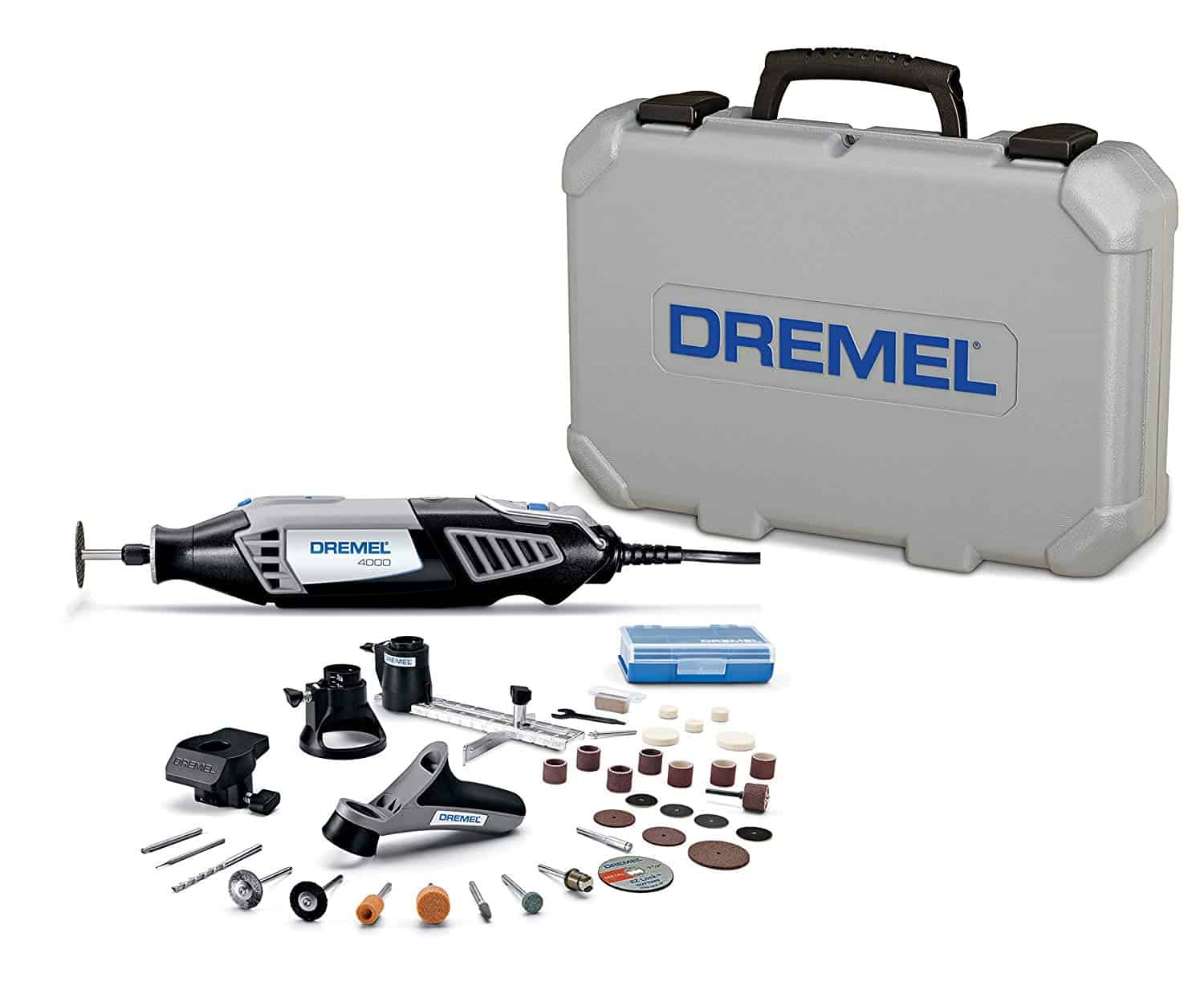 Dremel Rotary Tool with accessories and gray carrying case.