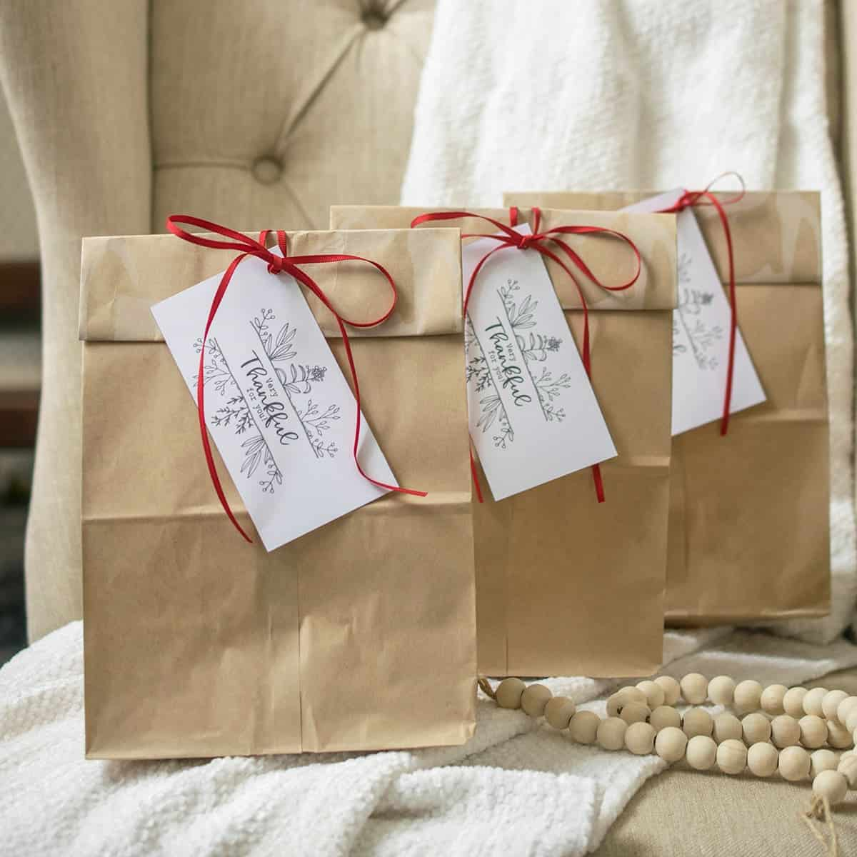 Leftover bags with free printable place card holders.