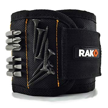 Black Rak Magnetic wristband for easy nail and screw pickup