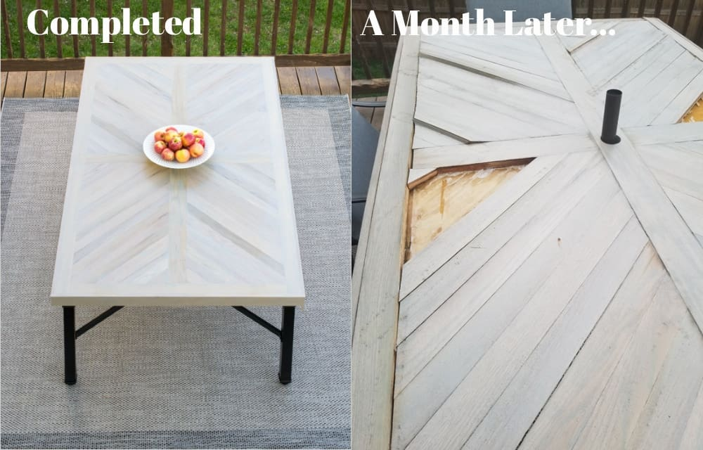 Before and after photo of outdoor table warping from element exposure.
