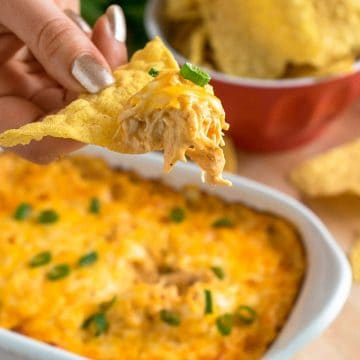 Buffalo Chicken dip being scooped on a tortilla chip.