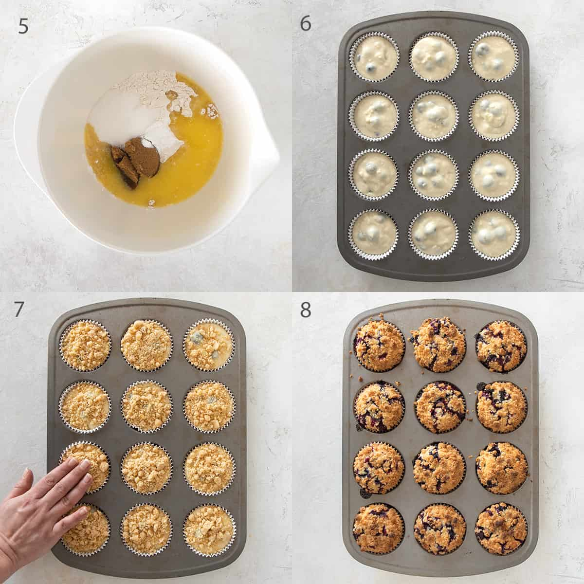 Collage of photos showing assembly of lemon blueberry muffins with crumb topping.
