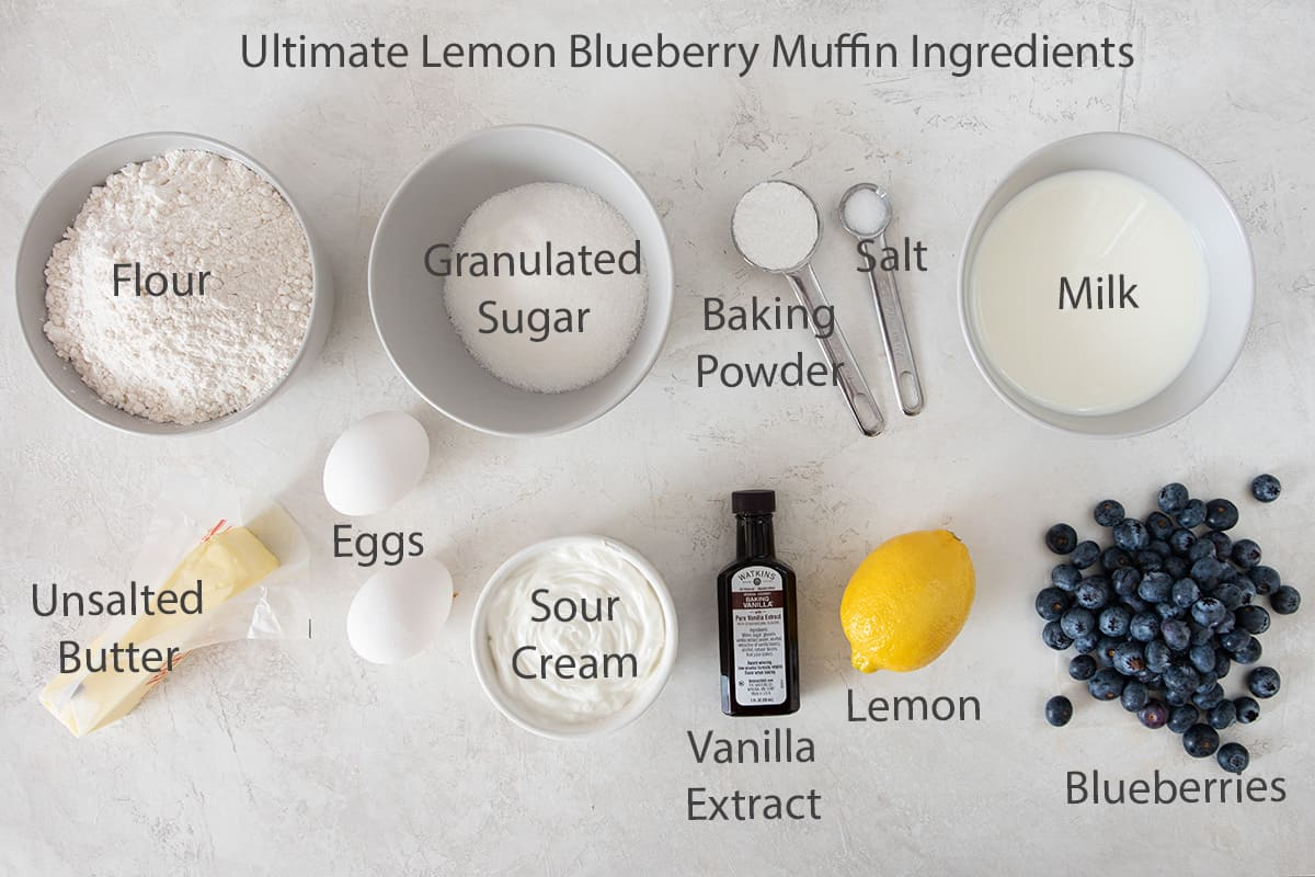 Ingredients for lemon blueberry muffins with text labels.