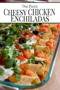 The best chicken enchilada recipe! Loaded with chicken,cheese, and sour cream, these Chicken Enchiladas with homemade enchilada sauce make a fresh and easy weeknight dinner idea!