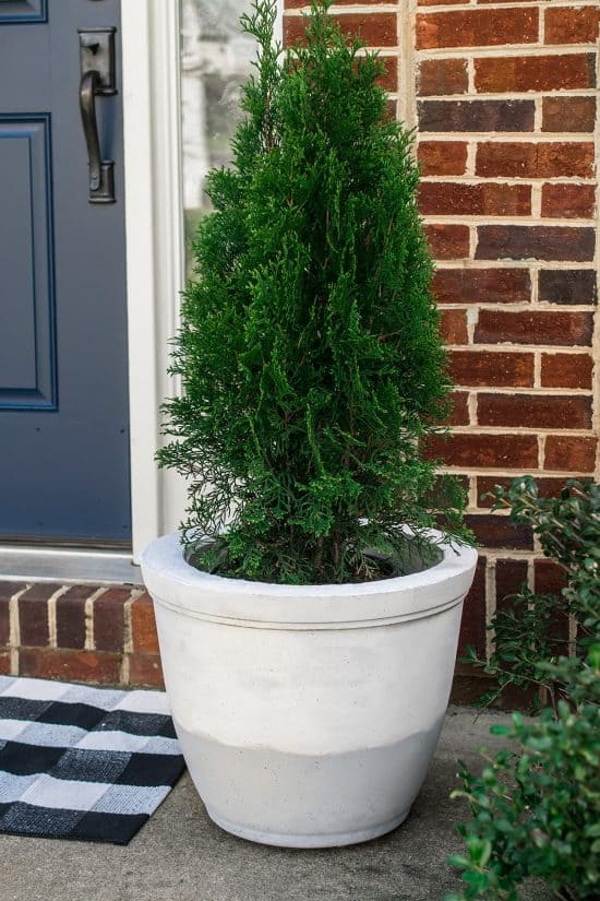 Large planter for $18 made from concrete. Here's the tutorial for making large planters to refresh your curb appeal.