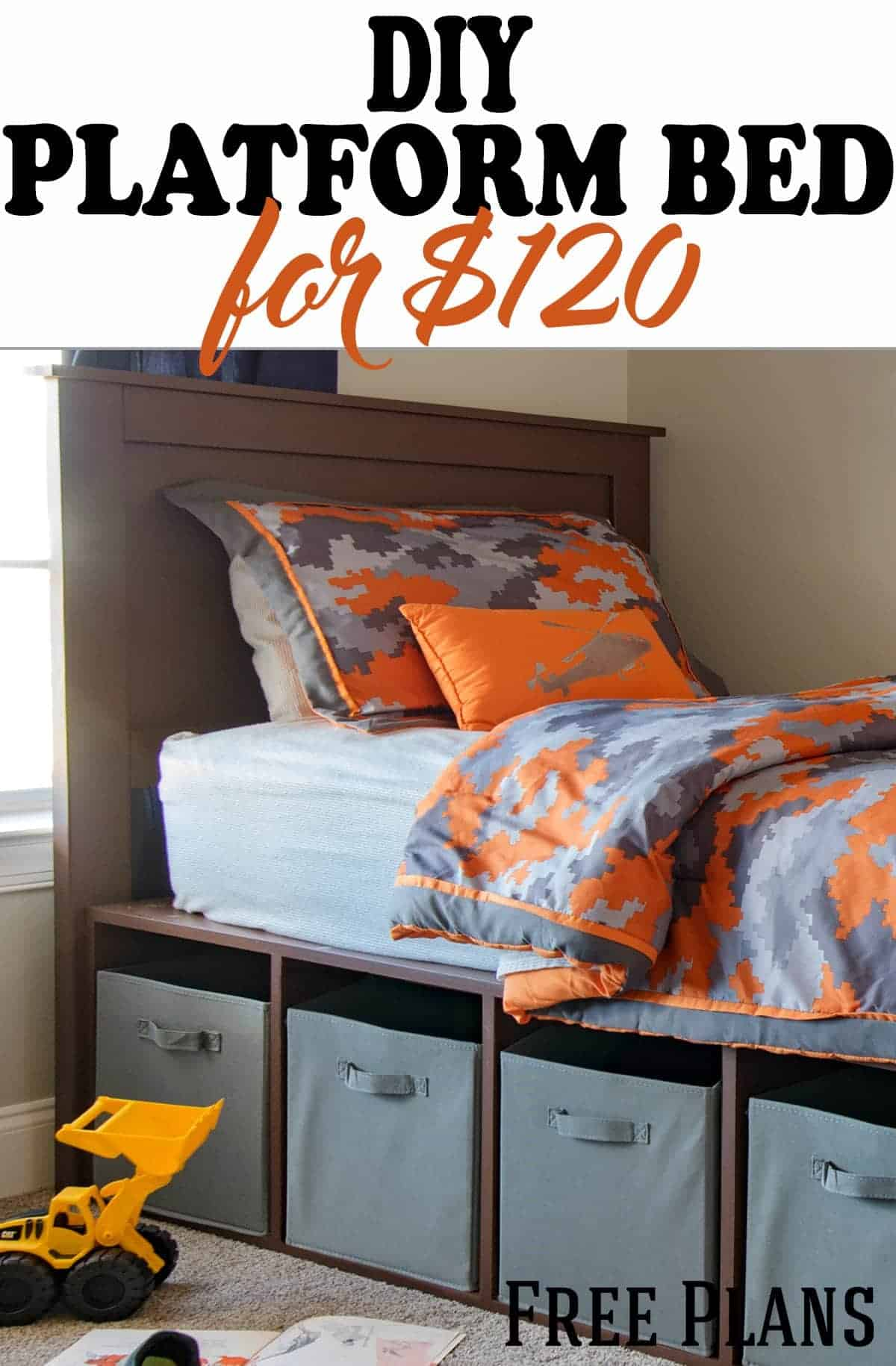 DIY platform bed in boys bedroom with cubby storage with title.