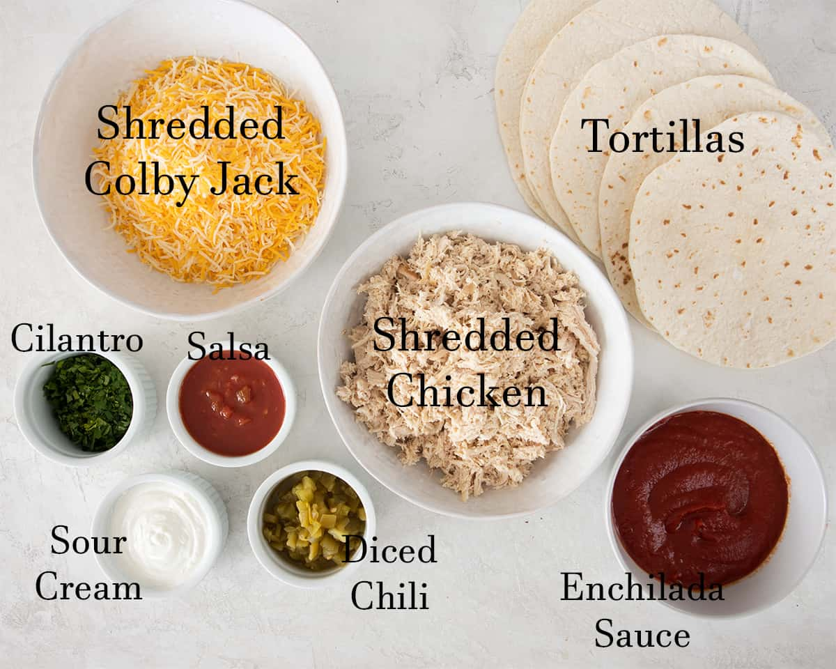Ingredients for enchiladas with text labels.