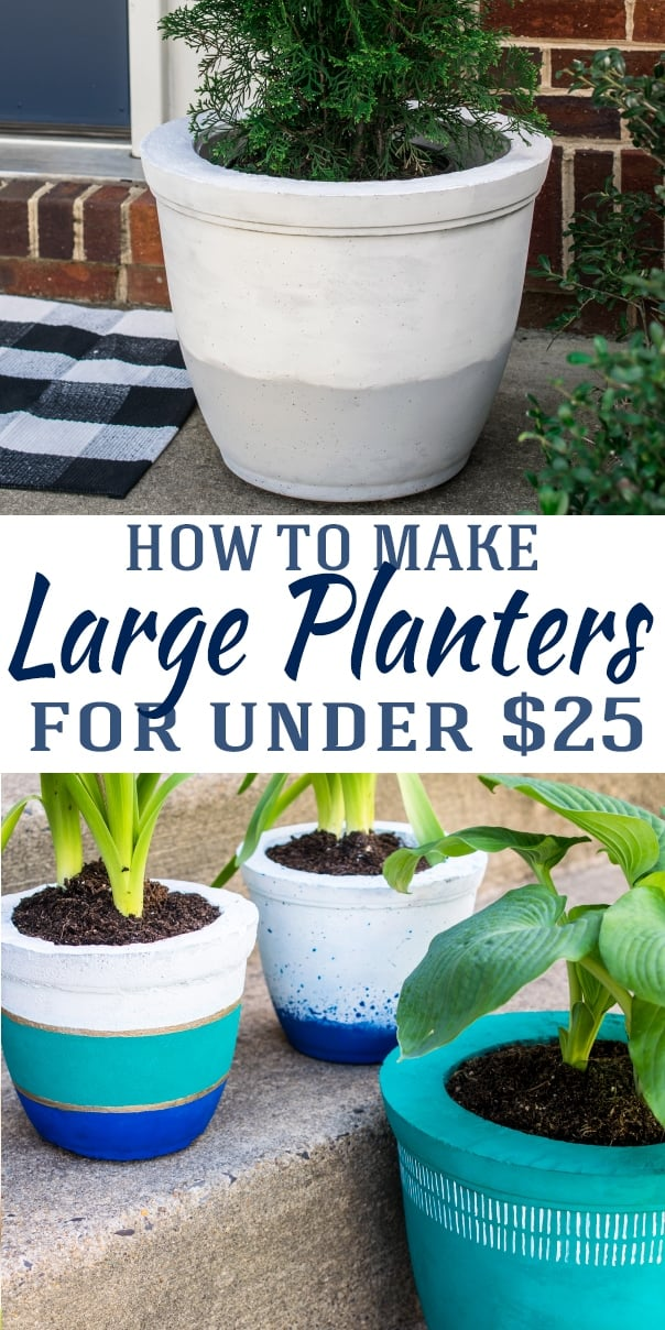 How to make large planters with concrete including photos of colorful and plain versions with title