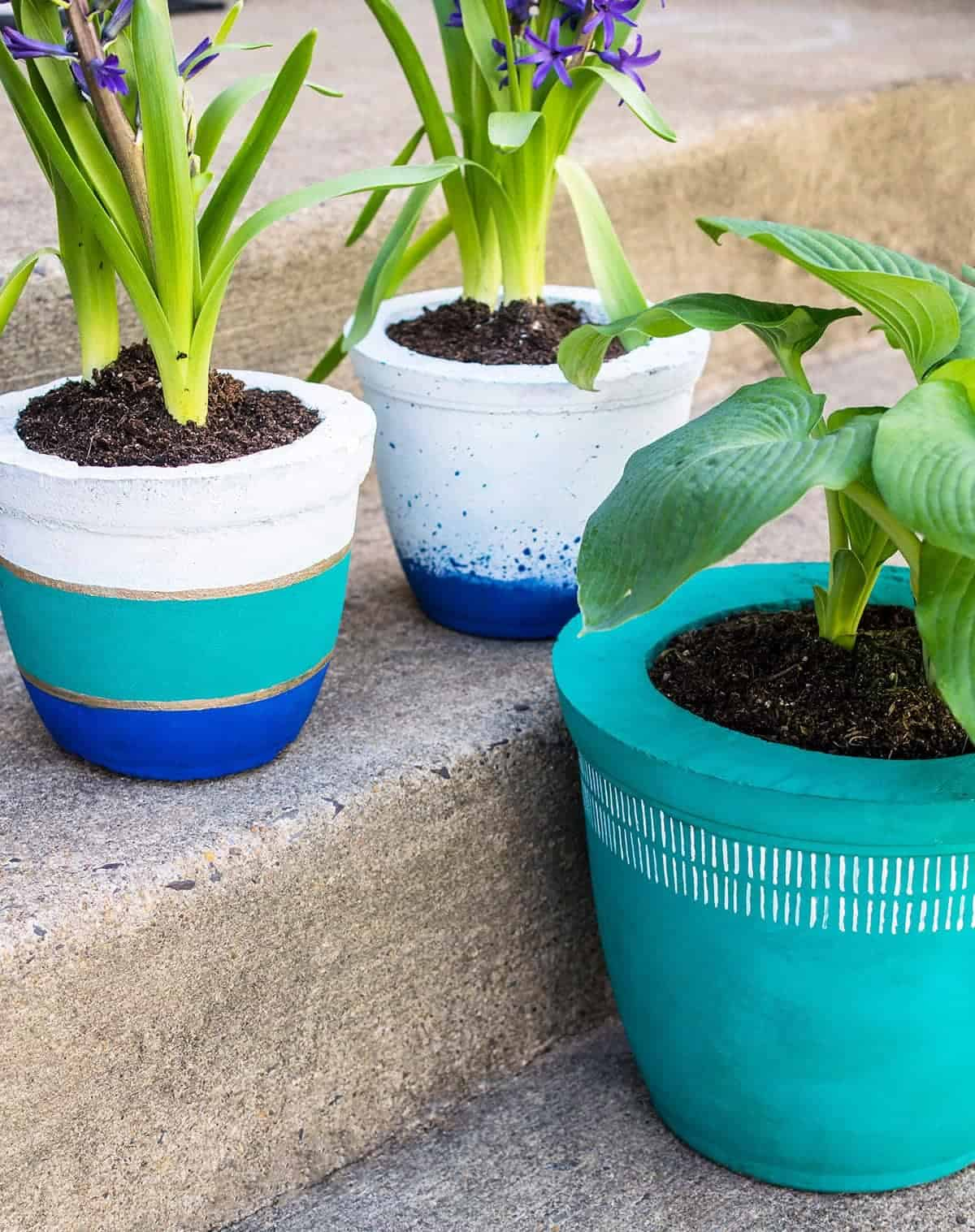 DIY painted concrete planters with potted plants on steps.