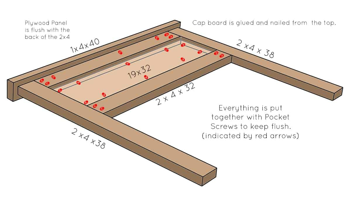 Drawing of how to put headboard together.