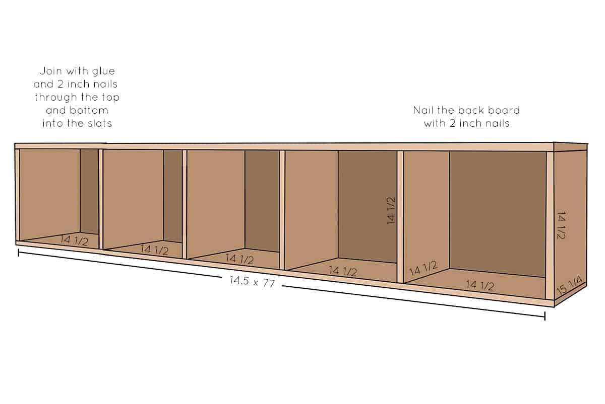 Drawing of platform storage area.