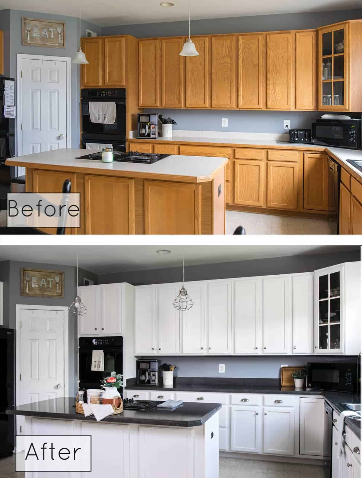 Before & after photo of kitchen remodel including white kitchen cabinet painting and replacing light fixtures