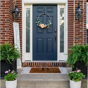 Blue front door on red brick house with planters on either side.