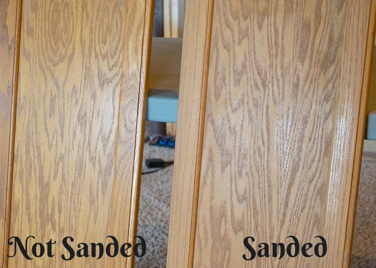 Before and after of sanding cabinets for painting to show how much you need to sand to prep for paint.