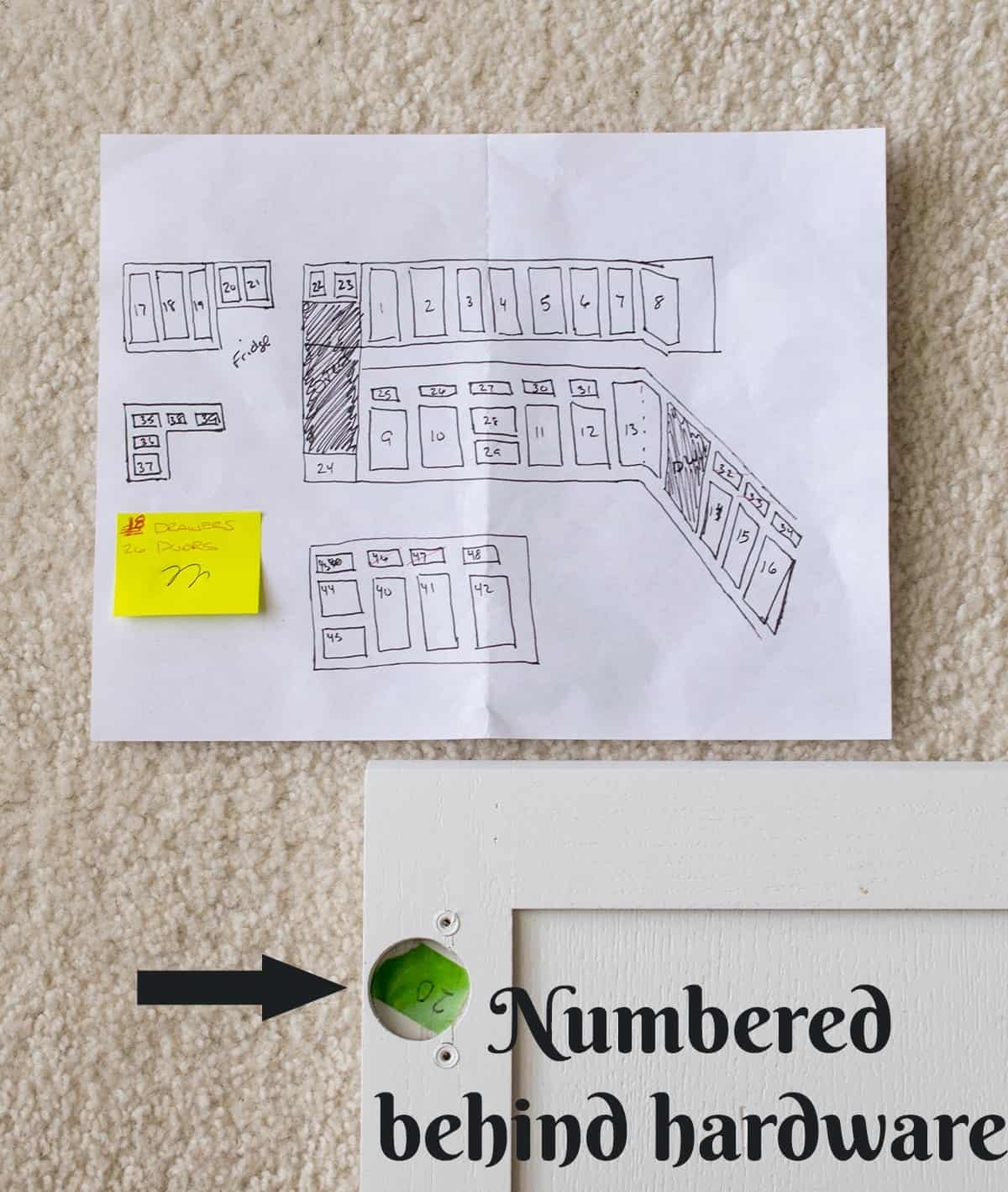 Paper drawing with numbered cabinets and labelled corner of white cabinet for reassembly.