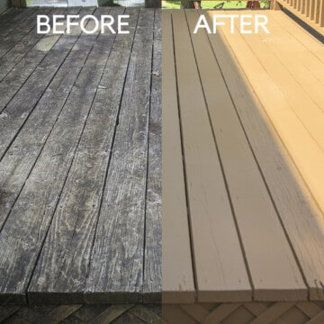 Before and after deck restoration side by side comparison.
